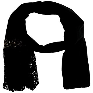 Lace Cotton Diamond Stole- Charcoal Black