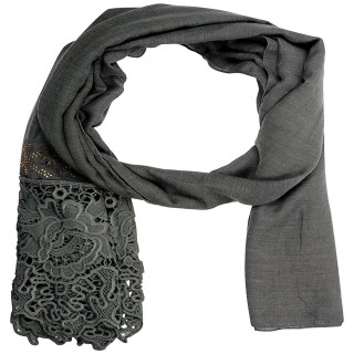 Lace cotton Diamond Stole- Fossil Grey
