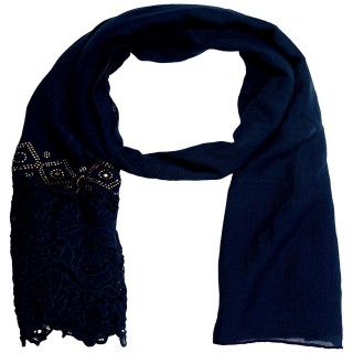 Half Net Diamond Stole- Navy Blue