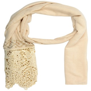 Half net diamond stole in cream color