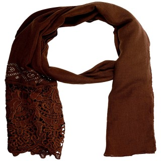 Half Net Diamond Stole- Coffee Brown