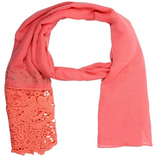 Lace cotton Diamond Stole-Pink