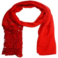 Half Net Diamond Stole- Rose Red