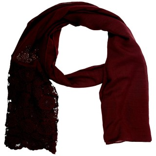 Lace Cotton Diamond Stole- Maroon