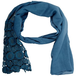 Lace Cotton Diamond Stole- Navy Blue