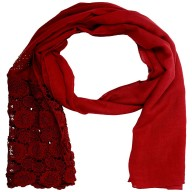 Half Net Diamond Stole- Apple Red