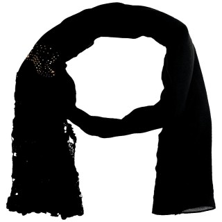 Lace Cotton Diamond Stole- Coal Black