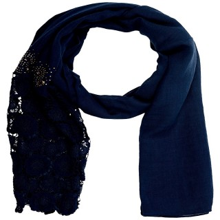 Half Net Diamond Stole- Dark Blue