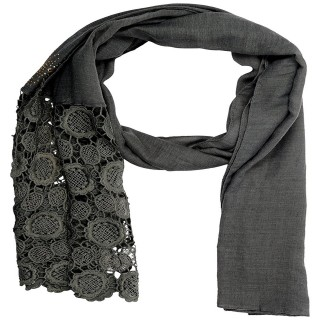 Half Net Diamond Stole- Graphite Grey