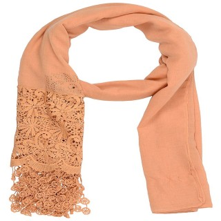 Designer Half Net Diamond Stole- Brown