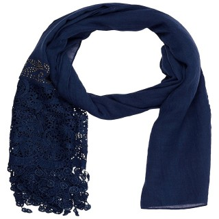 Designer Half Net Diamond Stole- Navy Blue