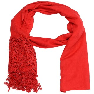 Designer Half Net Diamond Stole- Rose Red