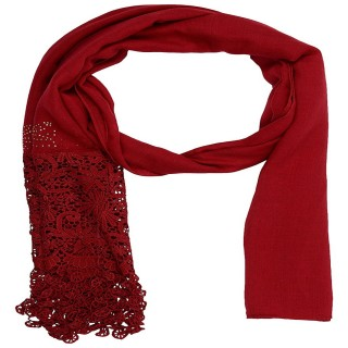 Designer Half Net Diamond Stole- Red