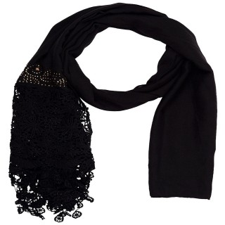 Designer Half Net Diamond Stole- Coal Black