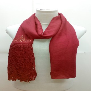 Designer Half Net Diamond Stole- Dark Red
