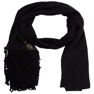 Designer Half Net Diamond Stole- Black