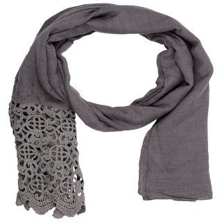 Designer Half Net Diamond Stole- Grey