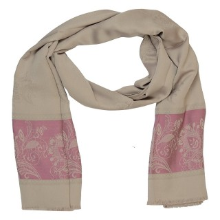 Silk Border Stole-Cream Color