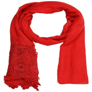 Designer Half Net Stole- Rose Red