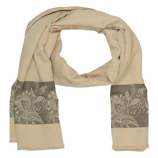 Silk Border Stole - Light Cream