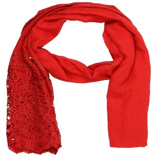 Designer Cotton Plain Women's Stole - Red