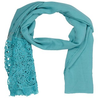 Designer Cotton Plain Women's Stole - Sky Blue