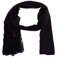 Designer Cotton Plain Women's Stole - Black