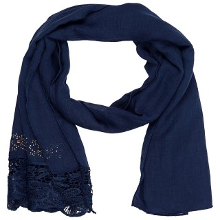 Designer Cotton Plain Women's Stole - Indigo