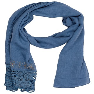 Designer Cotton Plain Women's Stole - Arctic Blue