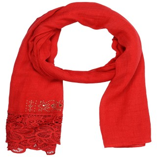 Designer Cotton Plain Women's Stole - Rose Red