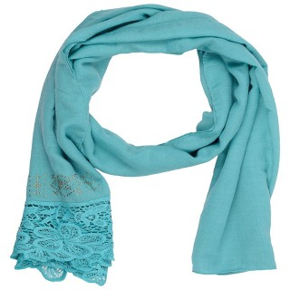 Designer Cotton Plain Women's Stole - Teal Blue