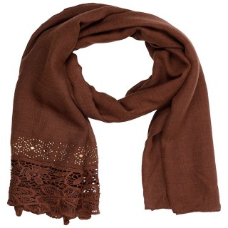 Designer Cotton Plain Women's Stole - Brown