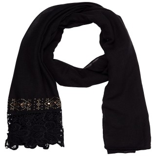 Designer Cotton Plain Women's Stole - Charcoal Black