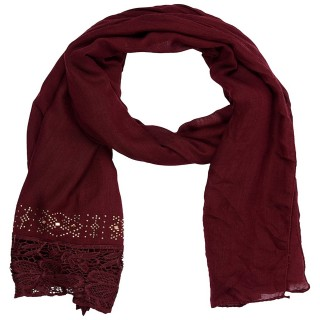 Designer Cotton Plain Women's Stole - Maroon