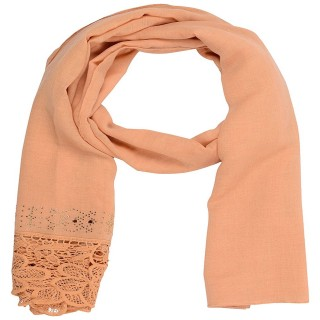 Designer Cotton Plain Women's Stole - Wheat Brown
