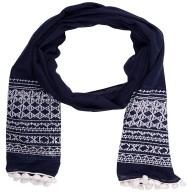 Cotton Printed Stole - Navy Blue