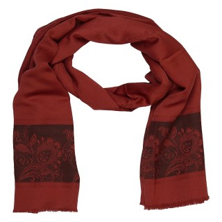 Silk Border Stole - Red