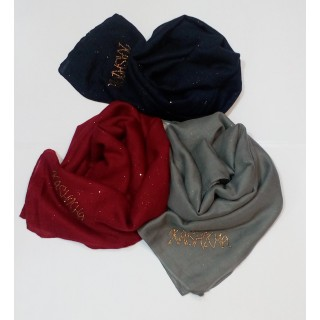 Combo Kashkha Glitter Stoles- DARK RED | DARK BLUE | LIGHT GREY