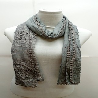 Premium Ari Diamond Lace Stole-Dark Grey