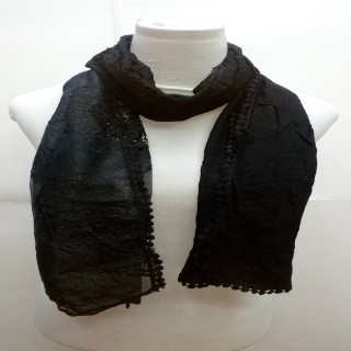 Premium Ari Diamond Lace Stole- Black