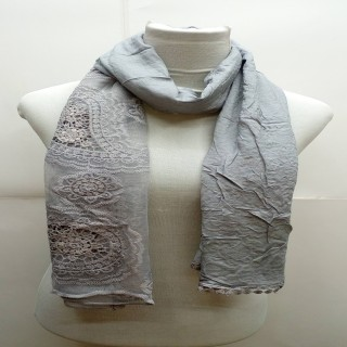 Premium Ari Diamond Lace Stole- Light Grey