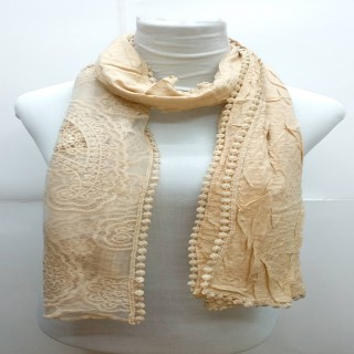 Premium Ari Diamond Lace Stole-Light Brown