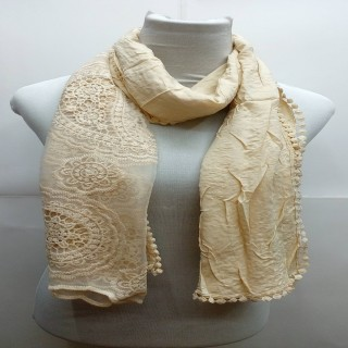 Premium Ari Diamond Lace Stole-Brown