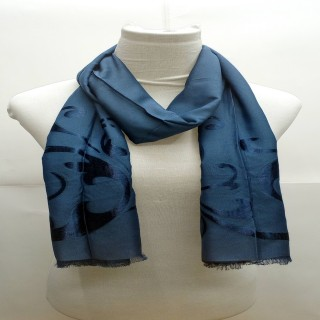 Premium Denim Blue Stole- Silk Barsso