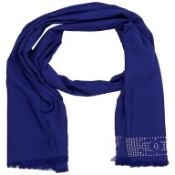Cotton Plain Stole - Blue