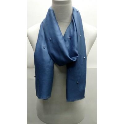 Cotton Plain Stole - Blue