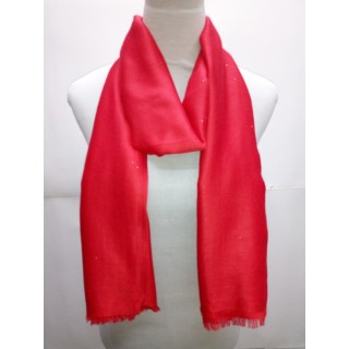 Cotton Plain Glitter Stole - Red