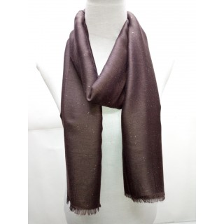 Cotton Plain Glitter Stole - Dark Brown