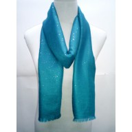 Cotton Plain Glitter Stole - Light Blue