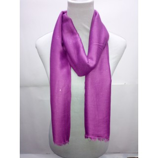 Cotton Plain Glitter Stole - Purple